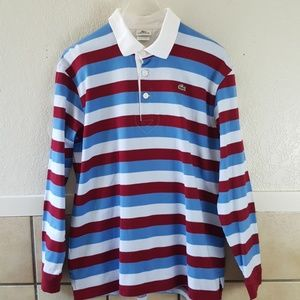 Lacoste Mens Striped Polo shirt Size Large EUC